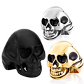 Symbol of Rebirth  Black Gold Silver color Skull sale 316L stainless steel ring punk men jewelry Fast shipping STR2-244