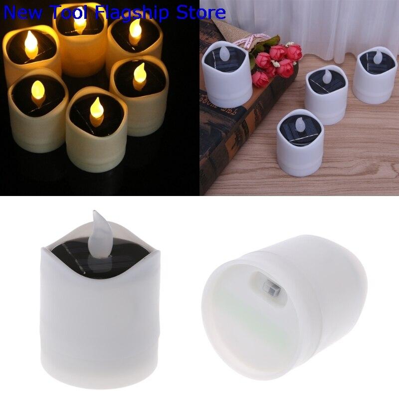 Solar Powered LED Candle Light Yellow Flicker Tea Lamp Festival Wedding Romantic Decor 2018 New