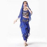 8 Colors Sari Indian Clothing 4 piece Suit 120D Chiffon Top, Coin Waist Belt, Dance Veil Headpiece Women Indian Pants Costume
