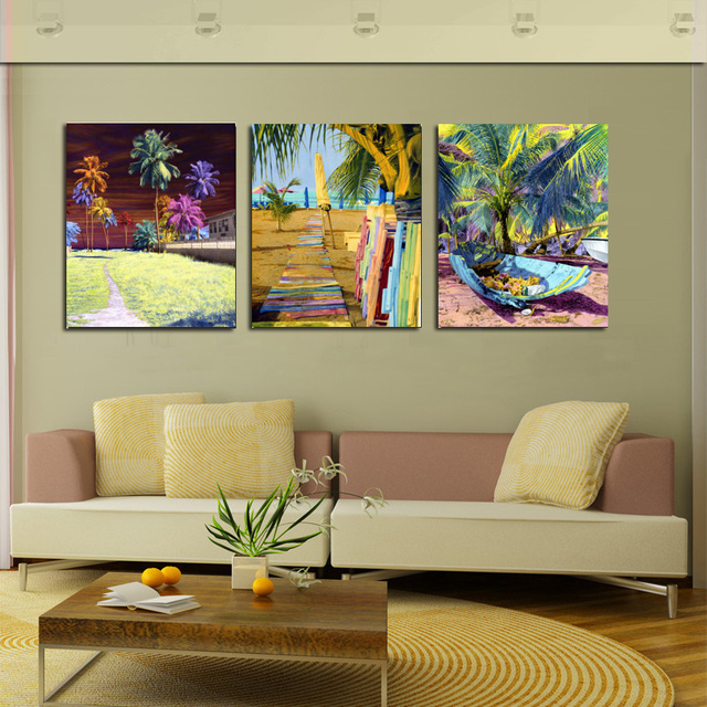 3 Panel Abstract Painting Landscape Canvas Art Tropical Coconut Tree Wall Pictures Cuadros Drawing Room Decoration Not framed
