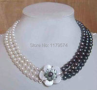 Hot Charming! new 3row white & black fresh water pearl necklace shell flower clasp Hand Made Fashion Jewelry Making Design W0382