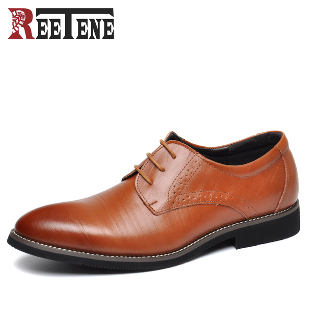 2017 New High Quality Genuine Leather Men Shoes Brogues, Lace-Up Bullock Business Men Oxfords Shoes Men Dress Shoes Flats