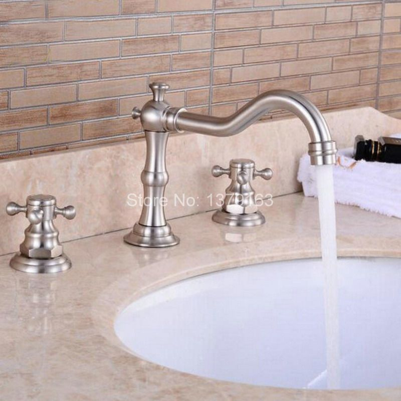Deck Mounted 3 Holes Bath Tub Mixer Tap Brushed Nickel Widespread Dual Cross Handles bathroom basin Faucet anf028