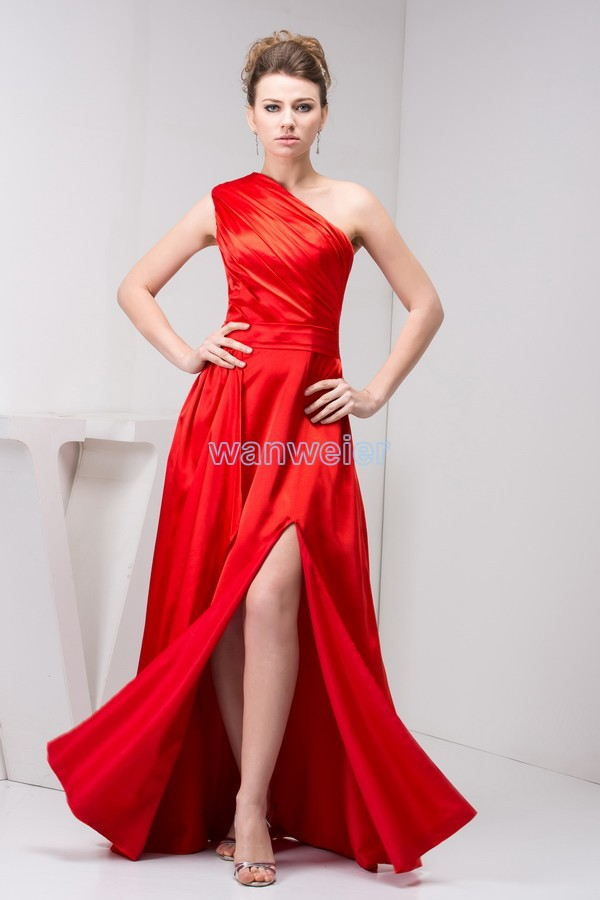 free shipping 2016 new design hot seller one shoulder formale open leg brides maid custom size/color long red   Bridesmaid     Dresses