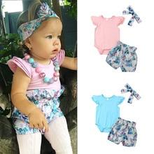 Newborn Toddler Baby Girls Ruffles Short Sleeve Romper Jumpsuit Mermaid Shorts Headband 2019 Summer Girl Clothes Set new