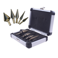 5pcs Step Cone Drill Set Of Drill Bits For Metal Toolbox Hole Cutters Power Cones HSS