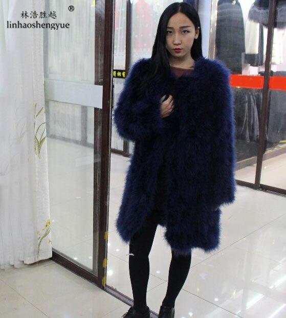 Linhaoshengyue Ostrich hair coat , long sleeve,coat 90cm long, Novel fashion2017