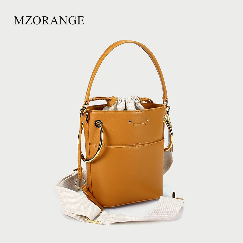MZORANGE NEW Metal ring design Genuine Leather Handbags Fashion women Bucket bag Shoulder Bags Crossbody Bags For Ladies 2018 summer new women genuine leather handbags female bucket bags simple shoulder bags mini ladies flap bag messenger crossbody bags