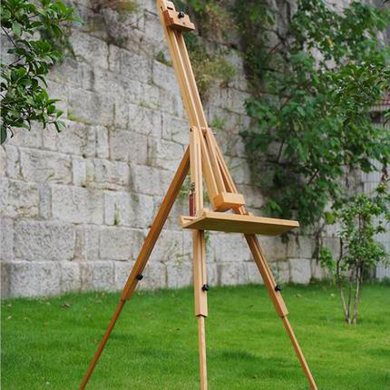 Wooden easel folding drawing board stent adult large triangular wood display rack multi - functional telescopic bracket type aluminum folding retractable color easel folding easel sketch new videos