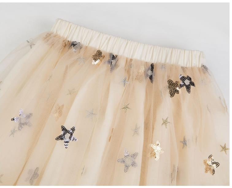 Adult And Girl's Fashion Beige Sequin Decoration Skirt