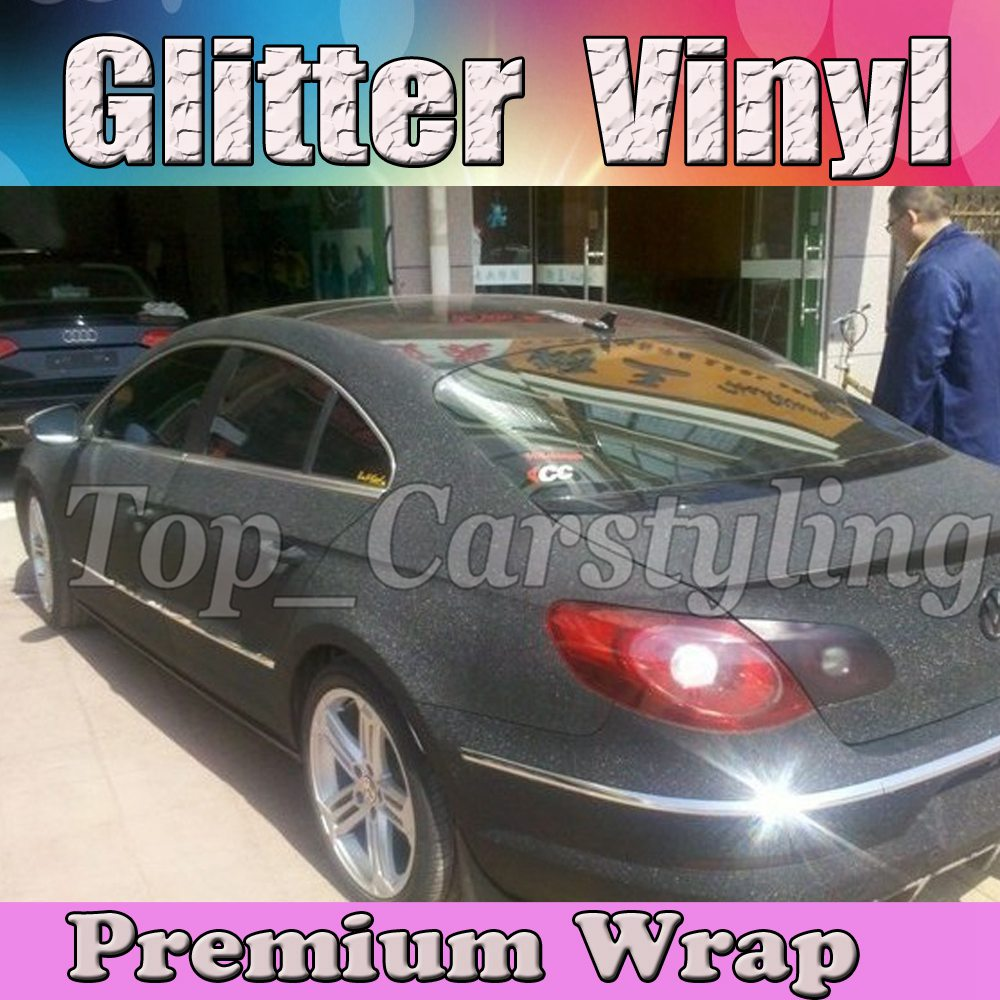Black glitter frosty vinyl car wrap film sandy 3m (3)
