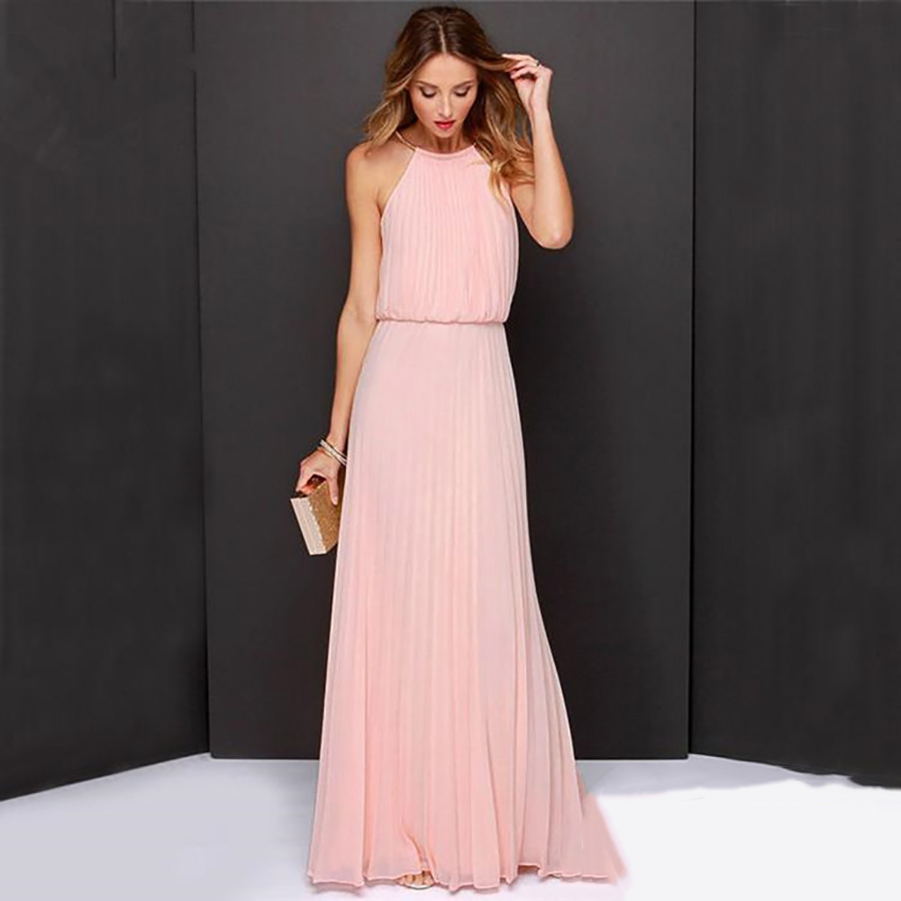2017 Women Bohemian Style Pleated Long Dresses Sleeveless Halter Sexy Formal Dress Fashion Clothes Female Clothing