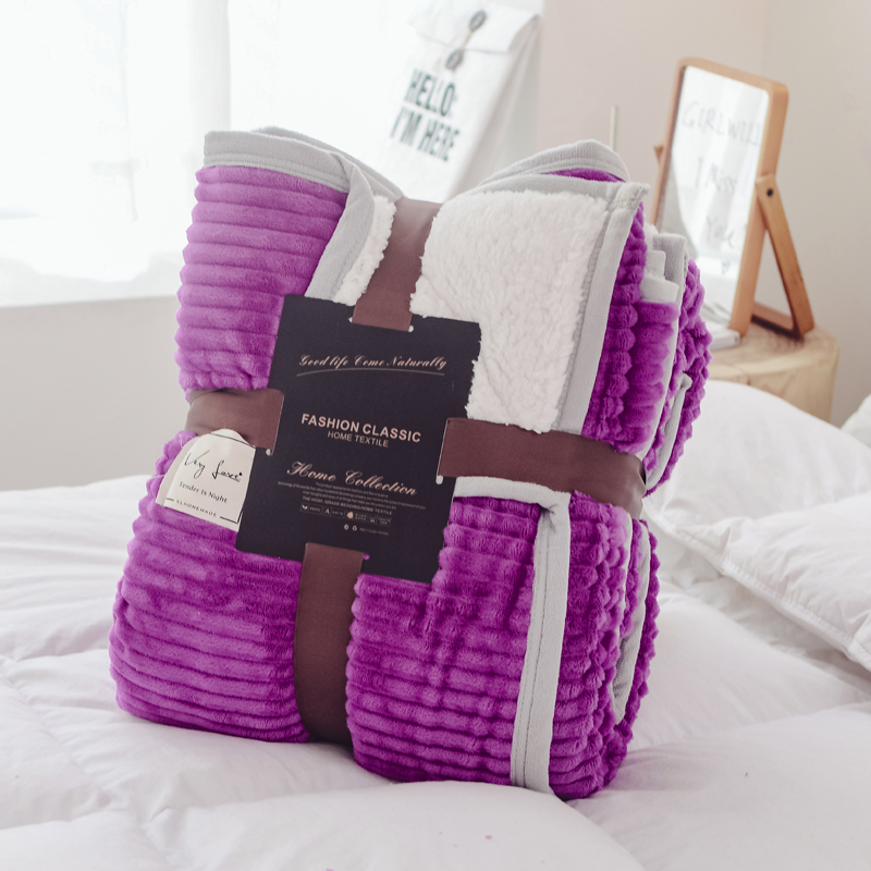 Haute qualité mode épais doux rayure flanelle couvre-lit couverture jette polaire couverture chaude pour canapé-lit voiture bureau winer automne