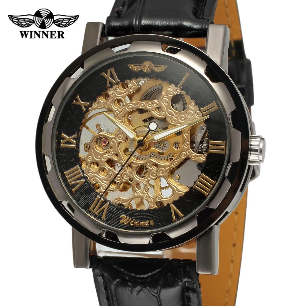 Prix pour Vainqueur hommes montre mécanique main - vent en cuir cristal analogique classique bande occasionnel marque montre - bracelet couleur noir WRG8008M3B2