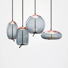 Nordic Style Minimalist  Postmodern Luxury Light Fixture Vintage Glass Pendant Lamp Elegance Smoky Gray chandelier