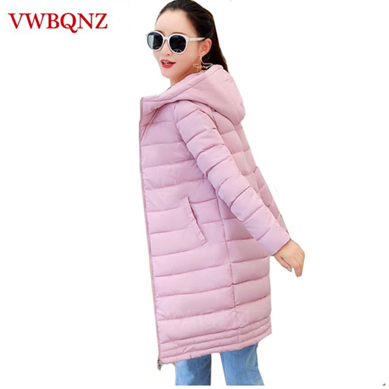 2018 Fashion Winter Medium Long Women Down Cotton Jacket Warm Hooded Outerwear Slim Parka Ladies Coat Casual Student Jacket Tops Shrink-Proof