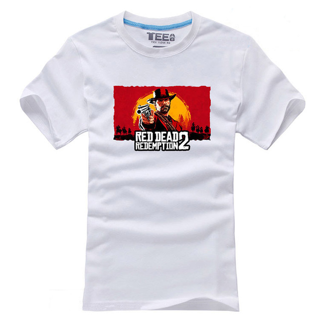 d4179cff47e 2018 Game Red Dead Redemption 2 T-shirts Mens Casual Print Pattern White  Short Sleeve O-Neck Cotton Tee Shirts Clothing Tops