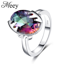 Best-selling Jewelry Standard 925 Silver Lady Classic Ring High-quality Fashion Colorful Anniversary Gift Ball Party