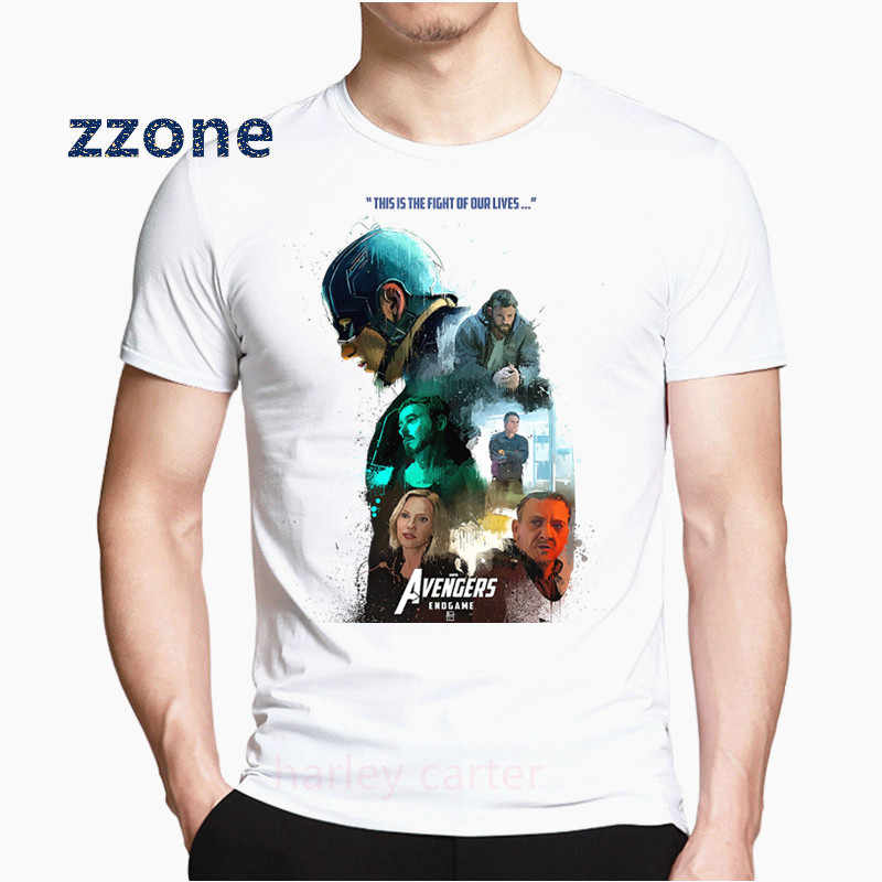 Avengers Endgame Iron Men Marvel Thanos Captain American Print Men T Shirt White Tshirt Harajuku Streetwear Men Clothes HCP4573