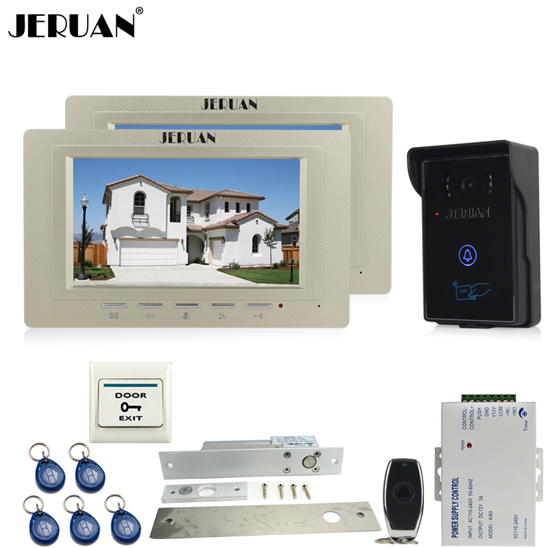 JERUAN two 7`` LCD Video Intercom Video Door Phone System+700TVL RFID Access Waterproof Touch key Camera+Electric Drop Bolt lock jeruan 7 inch video door phone intercom system kit rfid touch key waterproof access camera 180kg magnetic lock remote control
