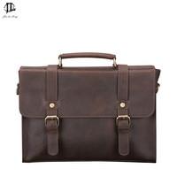 Retro Crazy Horse Genuine Leather Men's Classic Briefcase Handbag Business Zipper Laptop OL Messenger Bag Shoulder Handle Bags