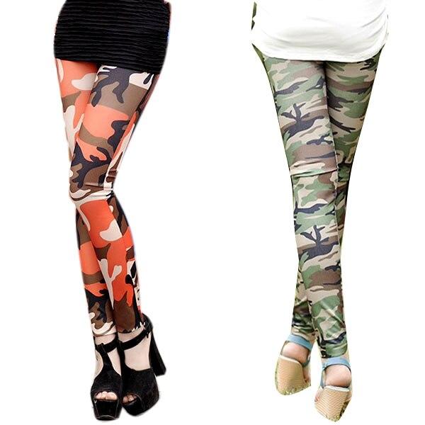 2019 Womens Graffiti Style Slim Camouflage Print Stretch Trouser Army Leggings Pants
