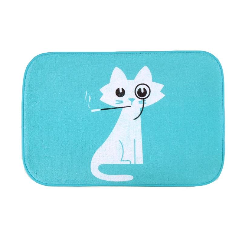 Funny Cat Bath Mat Animals Printing Rug Toilet Carpet Suede Non Slip ...
