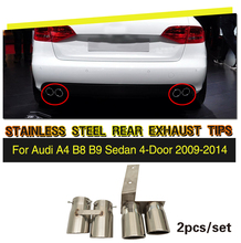 Stainless Steel Rear Exhaust Muffler Tip End Pipe 2pcs/set for Audi A4 B8 B9 Sedan 2009-2014