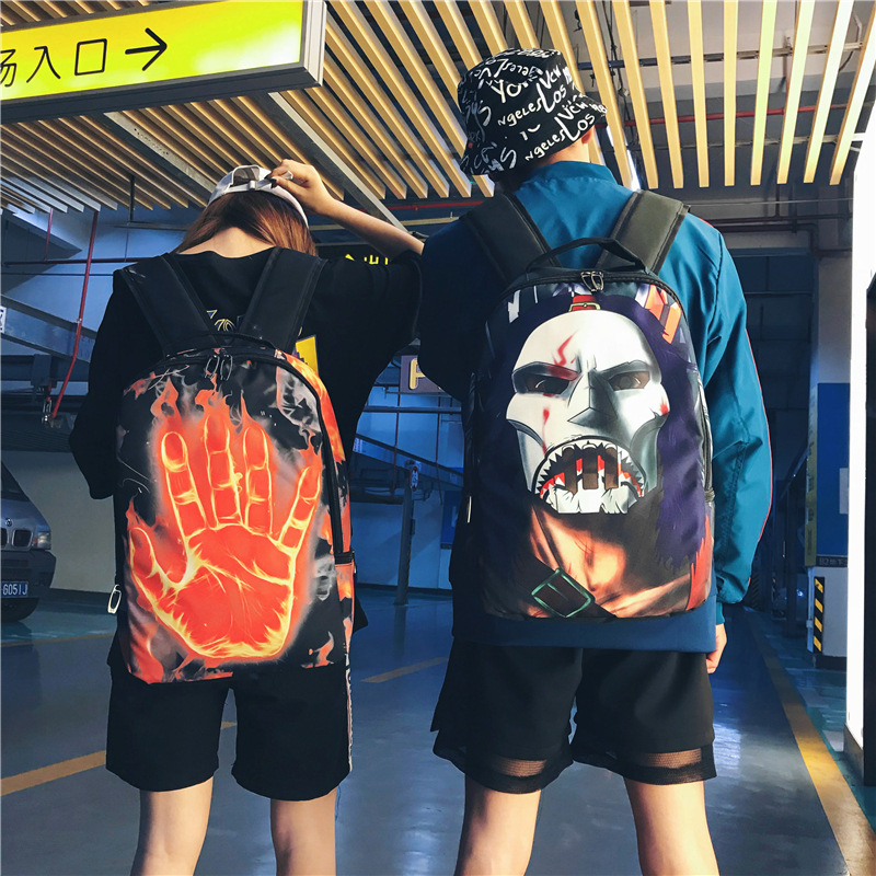 New Personality Tide Brand Backpack Men's Fashion Trend Hip Hop Canvas Backpack Couple Creative Print Backpack Student Bag