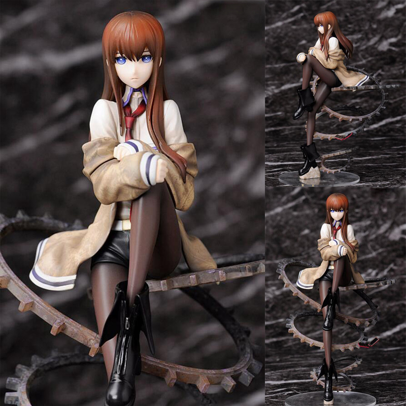Steins;Gate Makise Kurisu anime action painted toy figure 24cm model collection toys gift with box PVC Y7645 30cm classic anime diabolus unglate devil pre painted pvc sexy girl embrace japan action figure toys collection model with box
