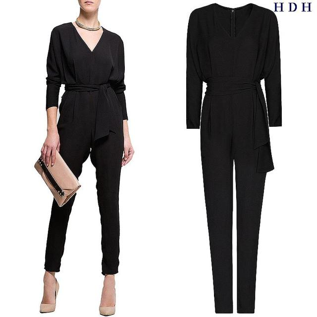 France Italy Spring autumn Europe America style slim tall waist belt waist v neck long sleeve chiffon jumpsuit catsuit OL
