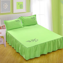 Luxury Bedskirt Solid Beautiful Non-slip Girl's Bedspread Bed Sheet Cover Pricess Queen Only for Wedding Decoration(China)