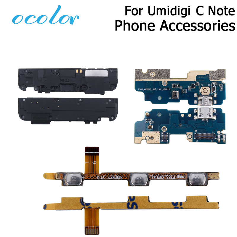 Ocolor For UMI Umidigi C Note USB Plug Charge Board Loud Speaker Button Flex Cable Power+Volume ButtonFor Umidigi C Note Mobile