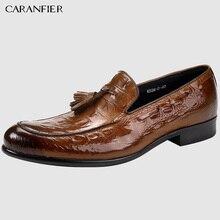 CARANFIER/Мужская обувь из натуральной кожи с круглым носком; Высококачественная Повседневная дышащая мужская модельная обувь с бахромой и крокодиловым узором