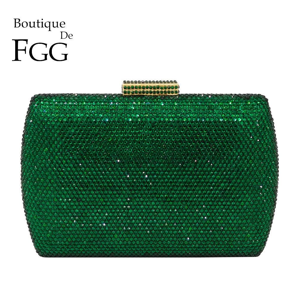 Boutique De FGG Elegant Green Emerald Crystal Women Evening Handbags Metal Hard Case Wedding Party Dinner