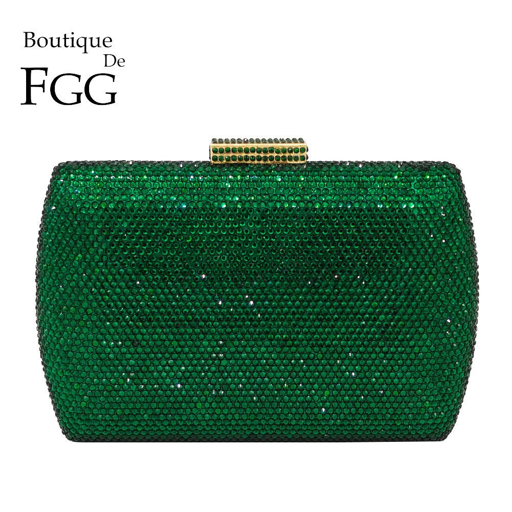 Boutique De FGG Élégant Vert Émeraude Cristal Femmes de Soirée Sacs À Main En Métal Dur De Cas De Noce Dîner Diamant Embrayage Sac
