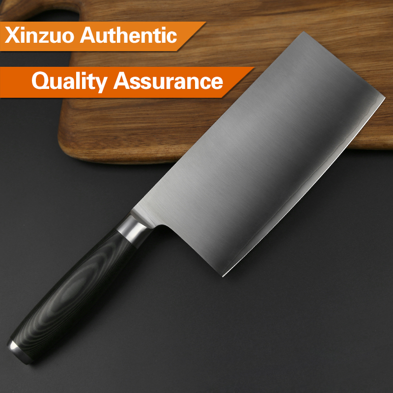 XINZUO 7'' Big Chinese Cleaver Knife 3 layer 440C Clad Forged German Stainless Steel Micarta Handle Kitchen Knives Cooking Tools