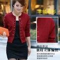 Шерсть кардиган свитер пальто женщин свободные короткими рукавами трикотажные рубашки Осень пункт шерсть двубортный бесплатная доставка