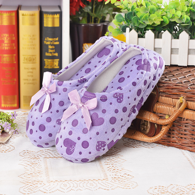 Winter Spring Indoor Slipper Woman Shoes Confinement Shoes Anti-skid Soft Warm Slipper Home Cute Butterfly Knot Heart-shaped