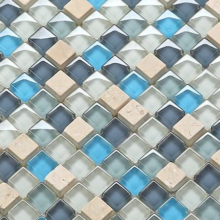 Mediterranean Blue Glass Crystal Ice Crack Ceramic Mosaic Tile For Kitchen Backsplash Waistline Bathroom Wall Building