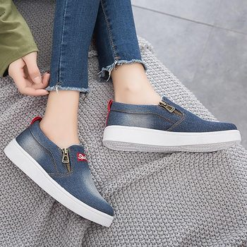 nuevo estilo ec45f 75085 Zapatos de mujer 2019 nueva llegada de moda de mezclilla para mujer zapatos  casuales mujer tenis feminino zapatos de lona con cremallera zapatillas de  ...
