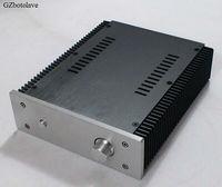 2107b alumínio amplificador de potência chassis amp caso caixa de alimentação linear com dissipador calor e botão