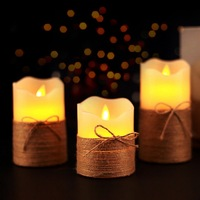 3PCS Flameless Candles LED Candles Battery Operated Candles with Hemp Rope Decor for Gift Flickering Moving Flameless Candles
