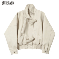 SuperAen Short Leather Jacket Women Solid Color Casual Fashion Europe Coat Female Long Sleeve Wild Spring