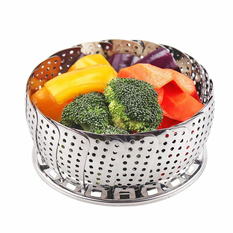 Stainless Steel Folding Steamer Steam Vegetable Basket Mesh Expandable Cooker Basket Cooker
