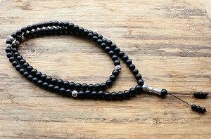 """Image 4 - 8 מ""""מ ו 6 מ""""מ חרוזים שחורים עם סגסוגת צורת קסם 99 חרוזים תפילה האסלאמי המוסלמי Tasbih אללה מוחמד מחרוזת לנשים גברים"""