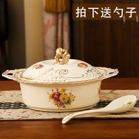 wedding decoration Ceramic soup cap bowl anti scalding double ear capped pan European creative soup basin oil basin big soup pot