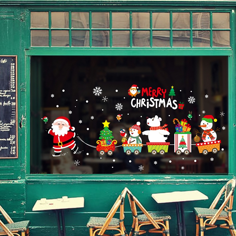 Image 3 - DIY Merry Christmas Wall Stickers Window Glass Festival Decals Santa Murals New Year Christmas Decorations for Home Decor New-in Wall Stickers from Home & Garden