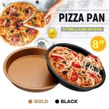 8 дюймов 200 мм черный сковорода для пиццы для выпечки, из углеродистой стали лоток для аэрофритюрница для приготовления блюд без Аксессуары тарелках Пособия по кулинарии Инструмент Кухонные инструменты для выпечки