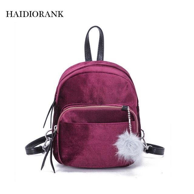 Women s Backpack 2018 Casual Fashion Little Backpacks For Teenage Girls  Chilren Velvet Bag Velour Small BagPack Mini Backpack fe077988ac8f0